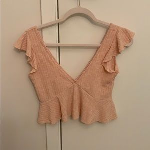 Forever 21 Pink VNeck Frill Sleeve Crop Top XS